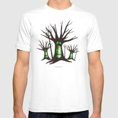 Ghost Tree White SMALL Mens Fitted Tee