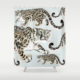 Snow leopard in ice grey Shower Curtain