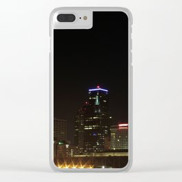 KC Downtown Skyline at Night Clear iPhone Case