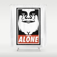 obey Shower Curtains featuring Obey Alone  by Daniac Design