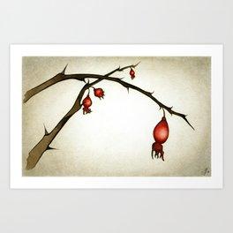 Mystery Garden: Red briar in a moonlit mist Art Print