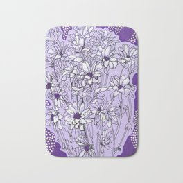 Chrysanthemum, violet version Bath Mat