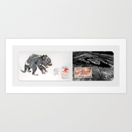 New Naturalism XI: Tasmanian devil with infection/ Toba Caldera eruption Art Print