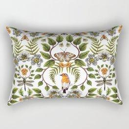 Spring Reflection - Floral/Botanical Pattern w/ Birds, Moths, Dragonflies & Flowers Rectangular Pillow