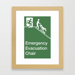Accessible Means of Egress Icon, Emergency Evacuation Chair Sign Framed Art Print