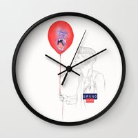 bruno mars Wall Clocks featuring Bruno Mars (Gorilla Balloon) by Rene Alberto