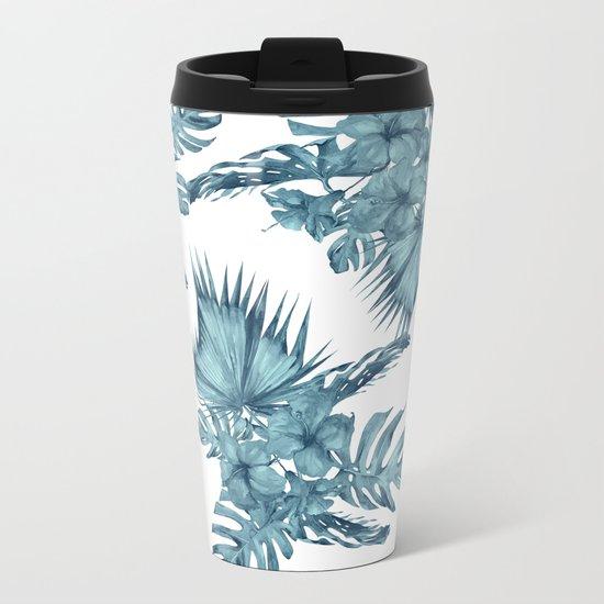 Tropical Palm Leaves Hibiscus Flowers Blue Metal Travel Mug