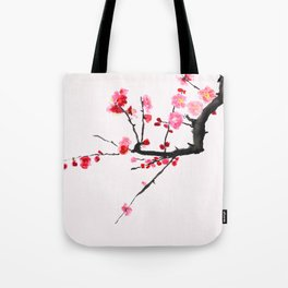 red plum flower red background Tote Bag
