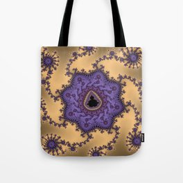Elegant Purple Mandelbrot Fractal Print Tote Bag
