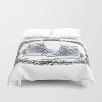 tigers Duvet Covers featuring White Tigers by haroulita