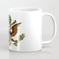 patriotic Mugs featuring Patriotic Eagle by manderjack