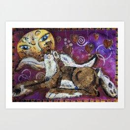 zedebee and the moon Art Print