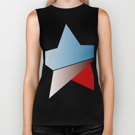 Ombre red white and blue star Biker Tank
