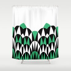Modern Day Arches Green Shower Curtain