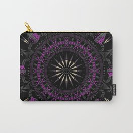 Buffalo Skull and Feathers (Purple) Carry-All Pouch