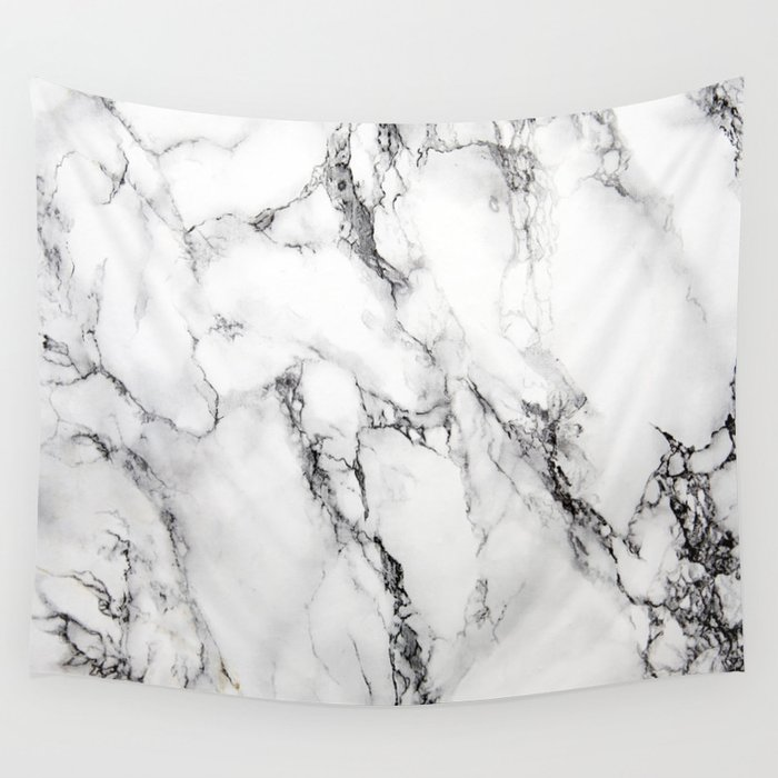 White Faux Marble Texture Wall Tapestry