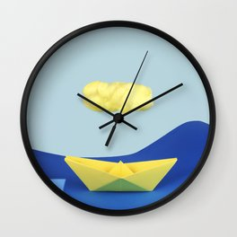 The yellow cloud over the yellow ship Wall Clock