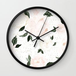vintage blush floral Wall Clock