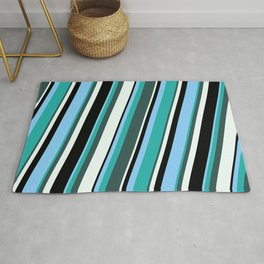 Light Sky Blue, Light Sea Green, Dark Slate Gray, Mint Cream, and Black Colored Pattern of Stripes Rug