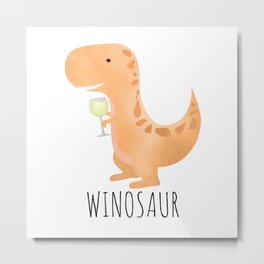 Winosaur | White Wine Metal Print