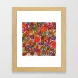 Fall Leaves and Splatters Framed Art Print