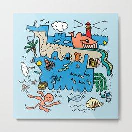 Sea Doodle World Animals Metal Print