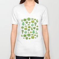 succulents V-neck T-shirts featuring Succulents by Anna Alekseeva kostolom3000