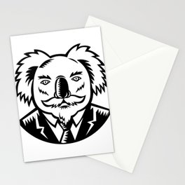Koala With Moustache Woodcut Black and White Stationery Cards