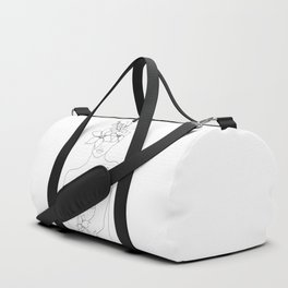 Minimal Line Art Woman with Flowers IV Duffle Bag