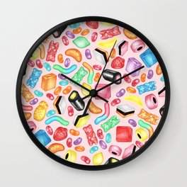 Rainbow Diet - a colorful assortment of hand-drawn candy on pale pink Wall Clock