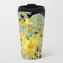 blue daisies and gold Metal Travel Mug