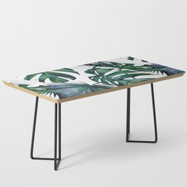 Tropical Palm Leaves Classic on Marble Coffee Table