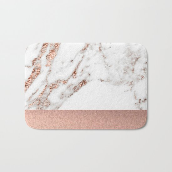Rose gold marble and foil Bath Mat