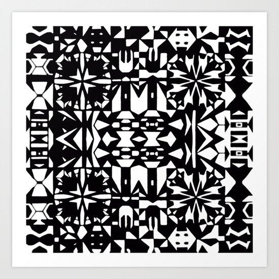 Black and White Square 3  Art Print