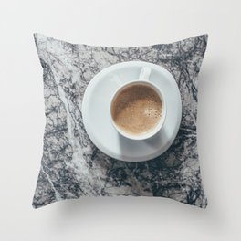 Coffee on Marble Background Throw Pillow