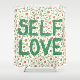 Self Love Daisy Print Shower Curtain