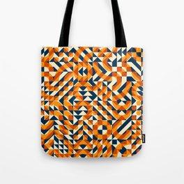 Orange Navy Color Overlay Irregular Geometric Blocks Square Quilt Pattern Tote Bag