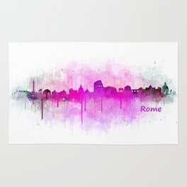 Rome city skyline HQ v05 pink Rug