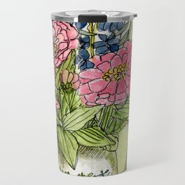 Pink Zinnias in Pitcher Watercolor Travel Mug