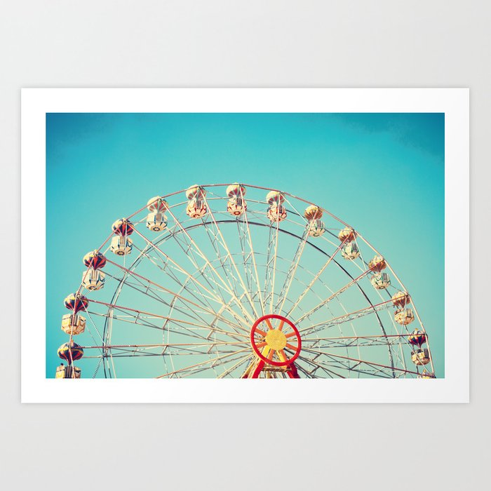 Daydream, Ferris Wheel on Blue Sky  Art Print