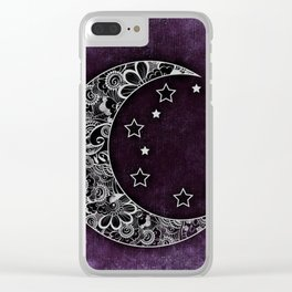 Purple Abstract Moon Clear iPhone Case