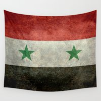 arab Wall Tapestries featuring National flag of Syria - vintage version (may PEACE prevail) by Bruce Stanfield