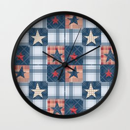 Blue denim plaid patchwork . Wall Clock