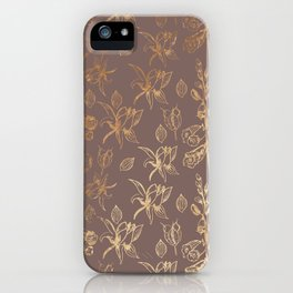 Gold Foil Harvest Wildflowers Print iPhone Case
