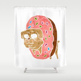 pug and donut. Shower Curtain