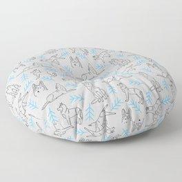 Siberian Husky Pattern (Light Gray) Floor Pillow