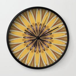 Yellow and Ochre Flower Pattern Abstract Wall Clock