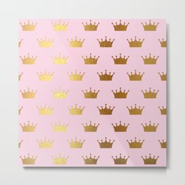 Gold Glitter effect crowns on pink - Royal Pattern for Princesses on #Society6 Metal Print