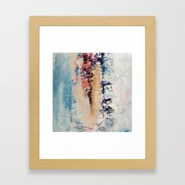 Artemis: A pretty, minimal, abstract mixed media piece in blue, gold, pink, purple, and white Framed Art Print