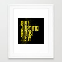 steelers Framed Art Prints featuring Ben Jerome Hines Troy / Black by Brian Walker